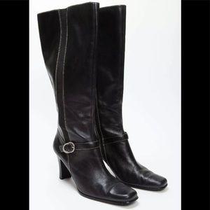 """Anne Klein Black Leather Knee High 3"""" Heel Boots"""